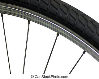 Bike Wheel - An isolated section of a bicycle wheel.