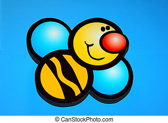 Hand Painted Bee - Photo of Hand Painted Wall Mural of a...