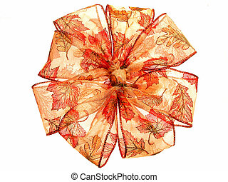 Fall Colored Ribbon - Very large shinny translucent bow shot...