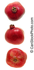 Pomegranate Trio - Three views of a fresh pomegranate fruit....