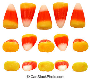 Candy Corn Rows - Three view points of a row of candy corn....