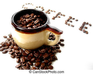 Coffee Series 5 - A mug filled with coffee beans, the word...