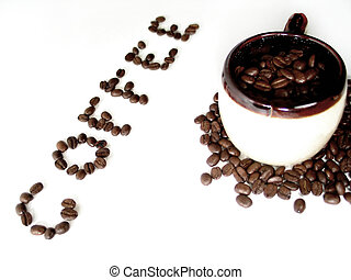 Coffee Series 6 - A mug filled with coffee beans, the word...