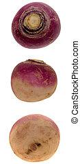 Turnip Trio - Three views of a fresh raw turnip.