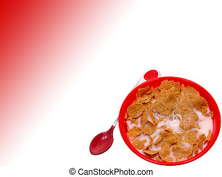 Toddler Cerial - Little red bowl of generic corn flake...