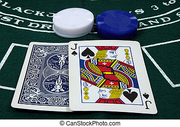 Black Jack - Photo of Cards and Chips.