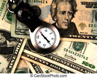Business Direction - Photo of Compass and Money With Color...