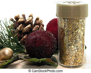Gold Glitter Crafts - Jar of gold glitter and holiday craft...