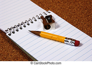 Pencil Stub - Photo of Pencil Stub, Notepad and Sharpener.