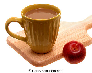 Quick Breakfast - Coffee or Hot Chocolate and a Plum on a...