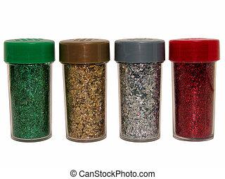 Glitter Bottles - Red, green, silver, gold glitter bottles...
