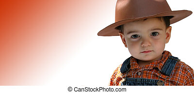 Country Boy - Beautiful toddler boy in overalls and a...