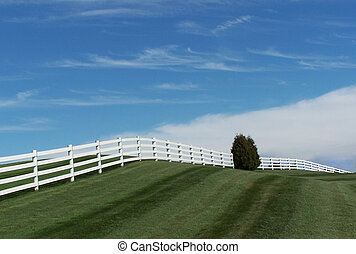 Rolling Fence - Rolling white fence on a freshly mowed hill.