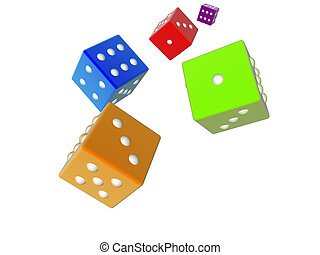3D dices - color - 3D rendered dices. Isolated on white...