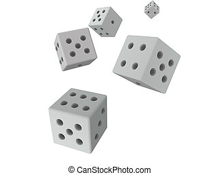 3D dices - grey - 3D rendered dices Isolated on white...