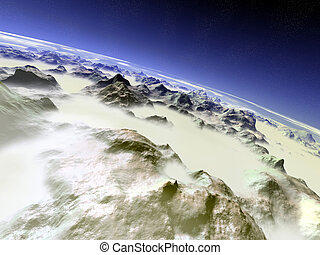 7000m - 7000 meters above the mountains digital created