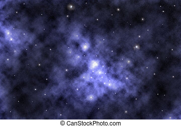 Starfield and Nebula - Digital created starfield with cosmic...