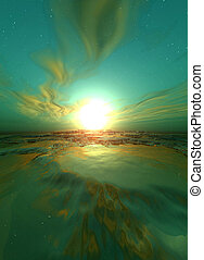 Green Sunrise - Green, surreal sunrise. Digital created...