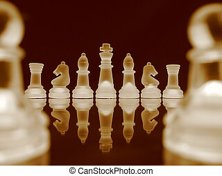 Chess V - Chessmen in a row in bright sepia.