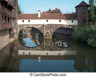 Nuernberg - Germany - Digital photo of the historic part of...