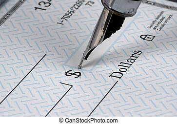 Check Writing - Photo of Blank Check and Pen