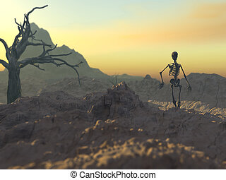 March of a skeleton - Surreal, digital rendering