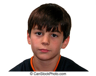 Serious Boy - Serious looking ten year old boy. Dark hair,...
