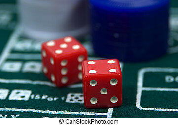 Craps - Photo of Dice and Chips