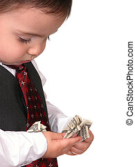 Boy Child with Money - Child dressed as a little business...