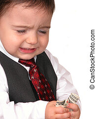 No Raise? - Little Business Man counts his money and isn't...