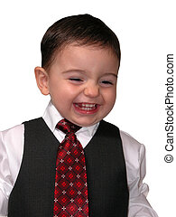 Boy Child Laughing - Child dressed in a suit and tie with a...