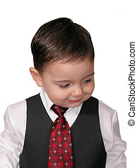 Looking Down - Head shot of a happy little business man...