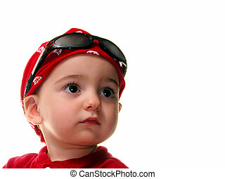 Boy Child in Do Rag - Adorable child in a red do rag and...