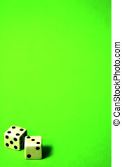 Lucky Seven - Photo of 2 Dice on Green Background.