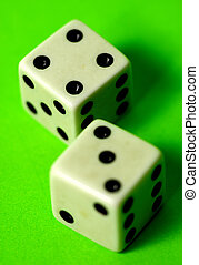 Lucky Seven - Photo of 2 Dice on Green Background Part of...