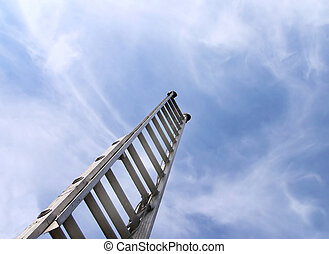 climb to success - ladder reaching up in the sky