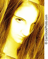 Troubled Teen Girl - Abstract yellow toned portrait of a...