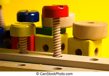 Wooden Toy Set - Photo of Wooden Contruction Set.