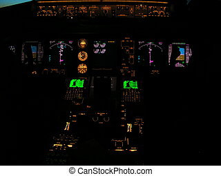 Boeing 777 panel - Cock pit panel lights at night on board a...