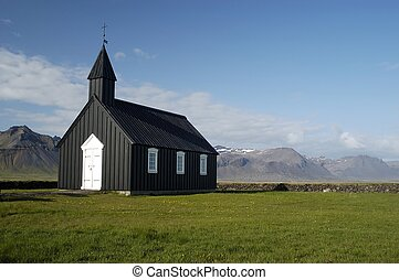 Icelandic Church - Typical Icelandic wooden church in front...