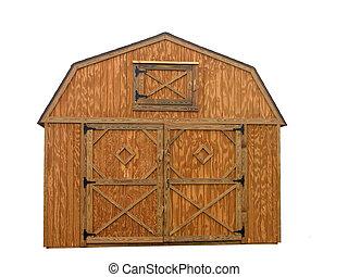 Storage Unit - Wooden double door barn style outdoor storage...