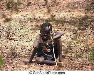 Boy under tree, Ken - Africa, child, Kenya