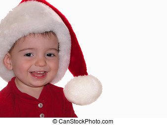 Santa Baby - Baby boy wearing a santa hat. Shallow dof with...