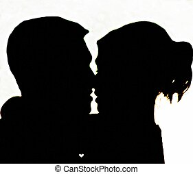 I love You - Silhouette of lovers...