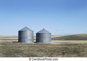 Two Grain Bins