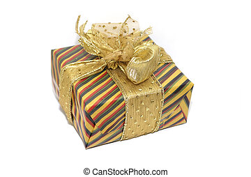 Gift - A gift, colourfully wrapped with a golden ribbon....