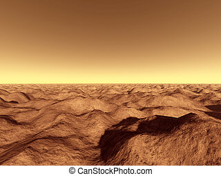 Mars surface 2 - 3d rendered, fictional Mars like landscape.