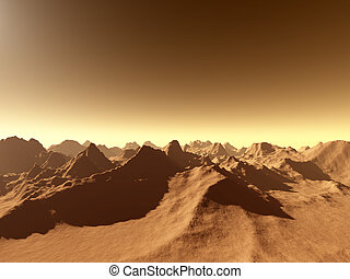Mars surface 3 - 3d rendered, fictional Mars like landscape.