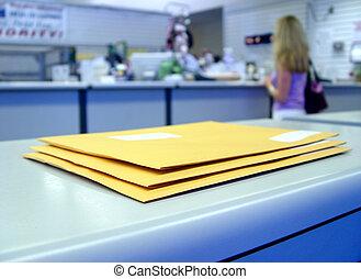 en, poste, oficina