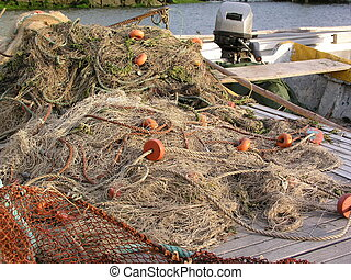 Fishing Nets - Nets of local portugese fishermen drying on...